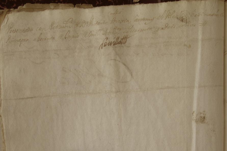 [Folio 16v] Presentado con petición de doña Antonia Mejía, ante mí el Alcalde ordinario, en Rionegro, a treinta de junio de mil setecientos cuarenta y seis años. / Rivillas